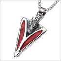 Arrowhead Courage Dragon Head Magic Powers Protection Amulet Sparkling Royal Red Pendant 18 Inch Necklace