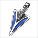 Arrowhead Courage Dragon Head Magic Powers Protection Amulet Sparkling Royal Blue Pendant