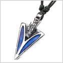 Arrowhead Courage Dragon Head Magic Powers Protection Amulet Sparkling Royal Blue Adjustable Necklace