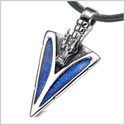 Arrowhead Courage Dragon Head Magic Powers Protection Amulet Sparkling Royal Blue Leather Necklace