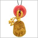 Lucky Dragon Car Charm or Home Decor Cherry Red Quartz Lucky Coin Donut Protection Magic Powers Amulet