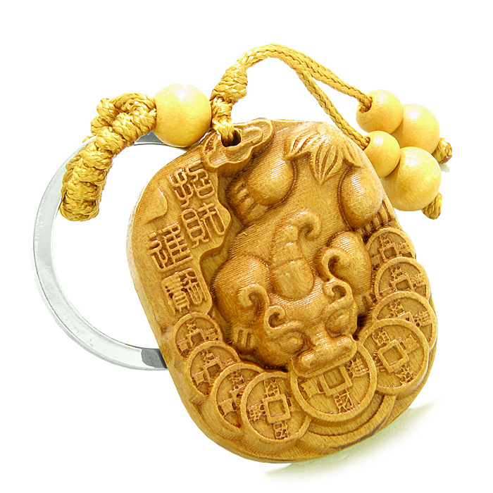 Sandal Wood Feng Shui Keychains Amulet Courage Dragon Lucky Coins