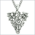 Amulet Flying Dragon Celtic Protection Knots Courage Fire Flames Lucky Charm Pendant 18 Inch Necklace