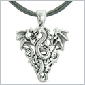 Amulet Flying Dragon Celtic Protection Knots Courage Fire Flames Lucky Charm Pendant Leather Necklace