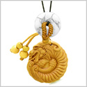 Magical Courage Dragon Car Charm or Home Decor White Howlite Donut Protection Powers Good Luck Amulet