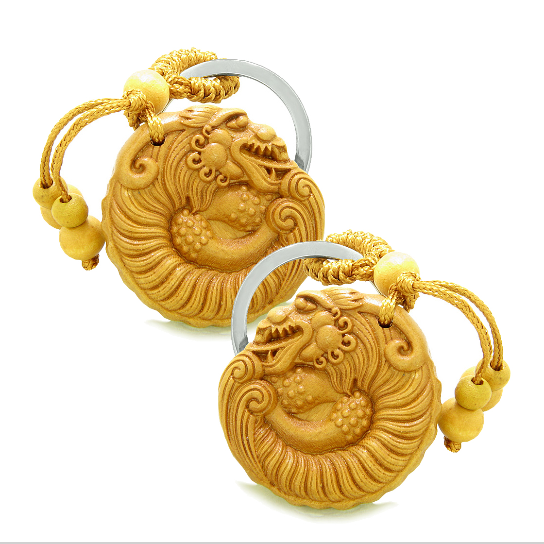 Sandal Wood Feng Shui Keychains Amulet Courage Magical Dragon Good