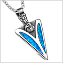 Arrowhead American Eagle Head Brave Powers Protection Amulet Simulated Turquoise Pendant 18 Inch Necklace