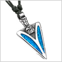 Arrowhead American Eagle Head Brave Powers Protection Amulet Simulated Turquoise Pendant Adjustable Necklace