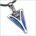 Arrowhead American Eagle Head Brave Powers Protection Amulet Sparkling Blue Pendant Leather Necklace