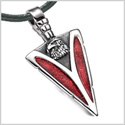 Arrowhead American Eagle Head Brave Powers Protection Amulet Sparkling Royal Red Pendant Leather Necklace