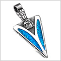 Arrowhead American Eagle Head Brave Powers Protection Amulet Simulated Turquoise Pendant