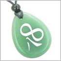 Magic and Lucky Kanji Infinity Eight Symbol Good Luck Powers Amulet Green Aventurine Wish Totem Gemstone Necklace Pendant