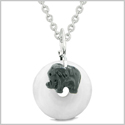 Cute Small Lucky Charm Black Elephant Amulet Magic Spiritual Powers White Quartz Donut 18 Inch Necklace