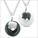 Cute Small Lucky Charm Elephant Amulets Love Couples BFF Set Black Agate White Quartz Donut Necklaces