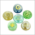 Inspirational Amulets Good Luck Charms, Protection and Blessings Glass Engraved Stones Set