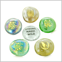 Inspirational Amulets Wild and Magic Totems Geocache Swag  Lucky Charms Glass Engraved Stones Set
