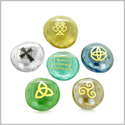 Inspirational Amulets Magic and Protection Ancient Celtic Good Luck Charms Glass Engraved Stones Set