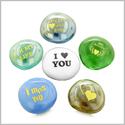 Inspirational Amulets Romance Love Powers for Couples Lucky Charms Glass Engraved Stones Set