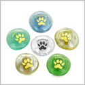 Inspirational Amulets Courage Wolf Paws Self Confidence Good Luck Charms Powers Glass Engraved Stones Set