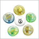 Inspirational Amulets Focus and Yin Yang Balance Magic Dreams Good Luck Charms Glass Engraved Stones Set