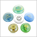 Inspirational Amulets Life Spirit Positive and Happy Energy Good Luck Charms Glass Engraved Stones Set