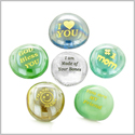 Inspirational Amulets The Best and Number #1 Mom Ever Appreciation Lucky Charms Glass Engraved Stones Set