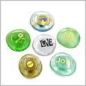 Inspirational Amulets Healing and Recovery Spiritual Serenity Good Luck Charms Glass Engraved Stones Set