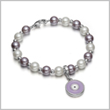 Amulet Positive Powers Simulated Pearl White and Purple Evil Eye Protection Magic Energy Bracelet