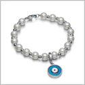 Amulet Positive Powers Simulated Pearl White and Royal Blue Evil Eye Protection Magic Energy Bracelet