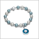 Amulet Positive Powers Simulated Pearl White and Sky Blue Evil Eye Protection Magic Energy Bracelet