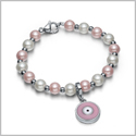 Amulet Positive Powers Simulated Pearl White and Cute Pink Evil Eye Protection Magic Energy Bracelet