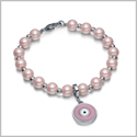 Amulet Positive Powers Simulated Pearl Cute Pink and White Evil Eye Protection Magic Energy Bracelet