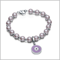 Amulet Positive Powers Simulated Pearl Cute Purple and White Evil Eye Protection Magic Energy Bracelet