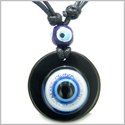 Amulet Evil Eye Reflection and Protection Powers Magic Spiritual Medallion Black Onyx Gemstone Pendant Necklace