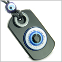Amulet Evil Eye Reflection and Protection Powers Magic Spiritual Dog Tag Black Onyx Hematite Gemstones Pendant Necklace
