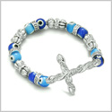 Amulet Evil Eye Protection Silver Tone Cross Charm Spiritual Powers Bracelet with Cute Blue Glass and Swarovski Elements Beads