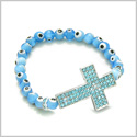 Amulet Evil Eye Protection Magic Cross Charm Spiritual Powers Bracelet with Cute Sky Blue Glass and Swarovski Elements Beads