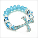 Amulet Evil Eye Protection Unique Cross Charm Spiritual Powers Bracelet with Cute Sky Blue Glass and Swarovski Elements Beads