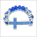 Amulet Evil Eye Protection Hearts and Cross Charm Spiritual Powers Bracelet Cute Royal Blue Glass and Swarovski Elements Beads