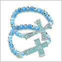 Amulet Love Couple or Best Friends Set Evil Eye Protection Magic Cross Charms Spiritual Powers Cute Sky Blue Beads Bracelets