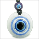 Amulet Evil Eye Reflection and Protection Powers Magic Good Luck Medallion White Jade Gemstone Pendant Necklace