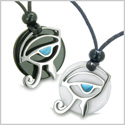 Amulets Love Couple Eye of Horus All Seeing Egyptian Yin Yang Powers Black Onyx White Jade Turquoise Pendants Necklaces