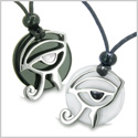 Amulets Love Couple Eye of Horus All Seeing Egyptian Yin Yang Powers Black Onyx White Jade and Cat&#39s Eye Pendants Necklaces