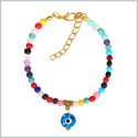 Evil Eye Protection Amulet Magical Powers Gold-Tone Colorful Dangling Sky Blue Eye Lucky Charm Bracelet
