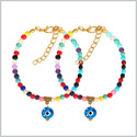 Evil Eye Protection Love Couples Amulets Set Colorful Accents Sky Blue Dangling Eye Lucky Charm Bracelets