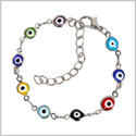 Evil Eye Protection Amulet Colorful Fun Eye Beads Silver-Tone Lucky Charms Bracelet