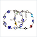 Evil Eye Protection Love Couples Amulets Set Royal Blue Colorful Fun Accent Silver-Tone Elegant Bracelets