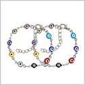 Evil Eye Protection Love Couples Amulets Set Colorful Fun Accents Silver-Tone Elegant Charms Bracelets