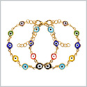 Evil Eye Protection Love Couples Amulets Set Colorful Fun Accents Gold-Tone Elegant Charms Bracelets