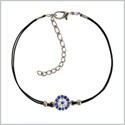 Evil Eye Protection Amulet Magical Powers Silver-Tone Sparkling Royal Blue Crystals Elegant Cord Bracelet